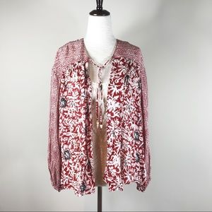 Free People Boho floral Open Jacket Top